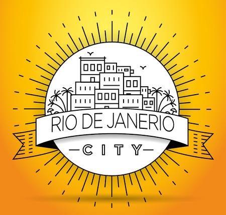 Lineaire stad Rio de Janeiro, Brazilië Silhouet met typografisch ontwerp