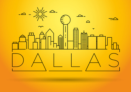 Minimal Dallas City Linear Skyline with Typographic Design Illusztráció