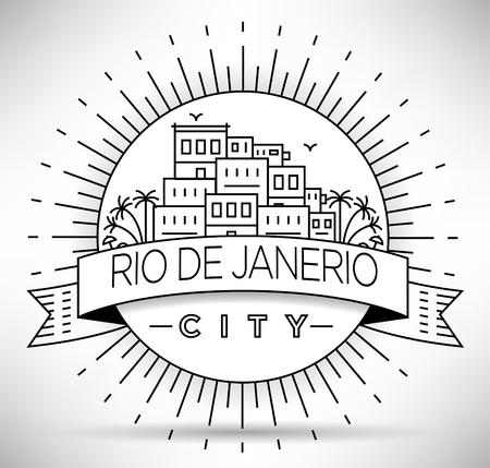 janeiro: Linear Rio de Janeiro City, Brazil Silhouette with Typographic Design
