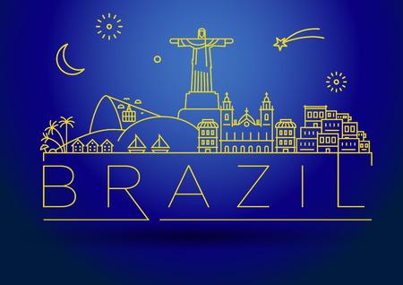 Minimal Brazil Linear Skyline with Typographic Design