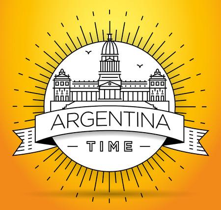 obelisk: Minimal Argentina Linear Skyline with Typographic Design Illustration