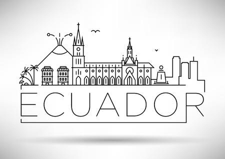 ecuador: Minimal Ecuador Linear Skyline with Typographic Design