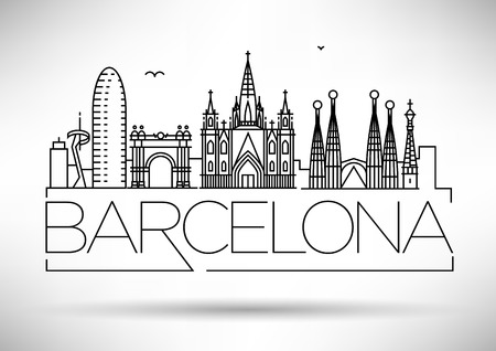 Minimal Barcelona City Linear Skyline with Typographic Design Иллюстрация