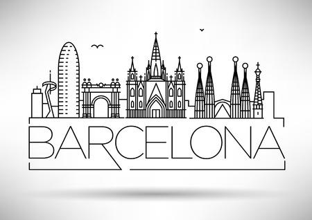 Skyline met Typografische Ontwerp minimale Barcelona City Linear
