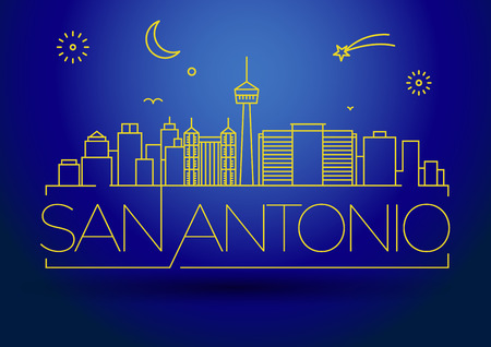 minimal: Minimal San Antonio City Linear Skyline with Typographic Design Illustration