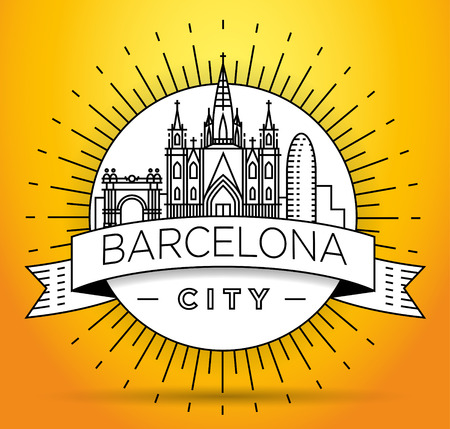Minimal Barcelona City Linear Skyline with Typographic Design Illustration