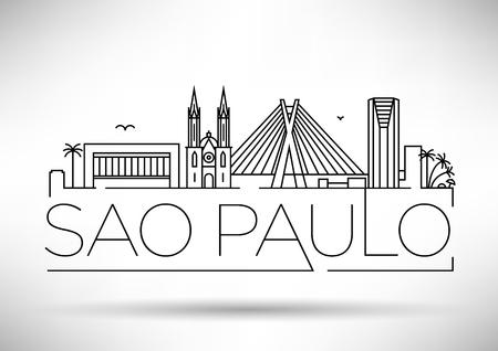 Minimal Sao Paulo City Linear Skyline with Typographic Design