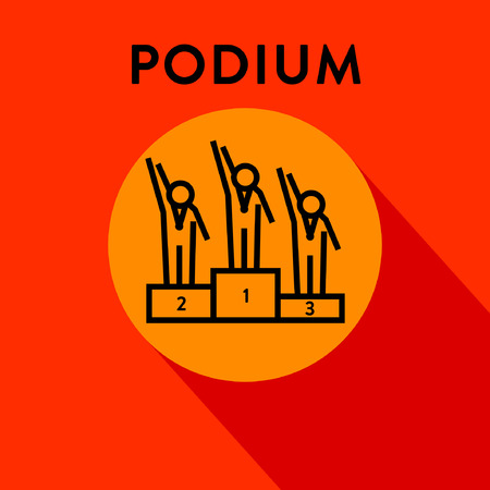 Modern Medal Podium Linear Icon Illustration