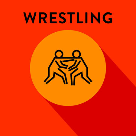 wrest: Modern Wrestling Icon with Linear Style Illustration