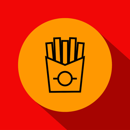 french fries: Vector French Fries Icon with Linear Style Illustration