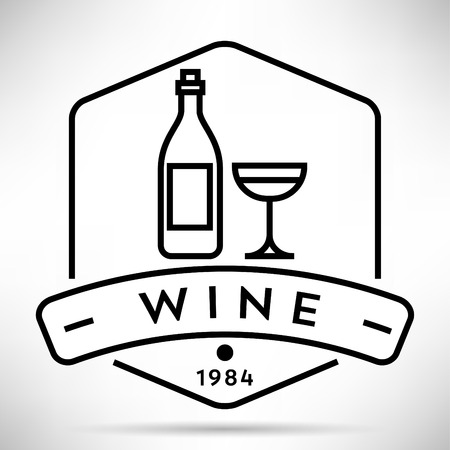contemporary taste: Vector Wine Icon with Linear Style Illustration