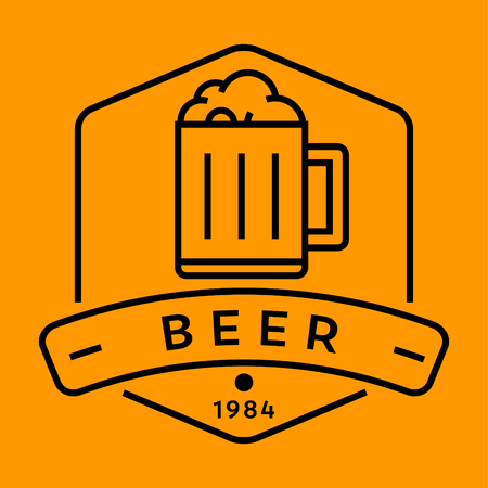 contemporary taste: Vector Beer Icon with Linear Style,