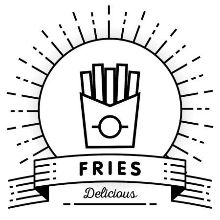 Vector Französisch Fries Icon mit linearen Stil