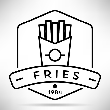 contemporary taste: Vector French Fries Icon with Linear Style Illustration