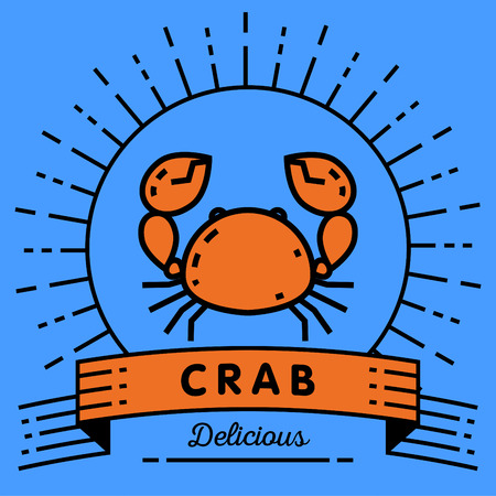 contemporary taste: Vector Crab Icon with Linear Style Illustration