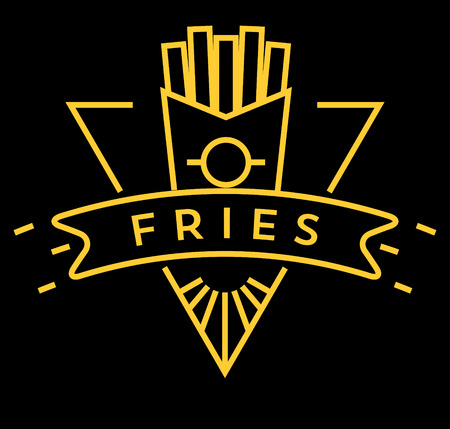 Vector French Fries icona con stile lineare