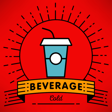 cold drink: Vector Cold Drink Icon with Linear Style