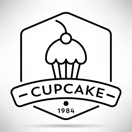 brownie: Vector Cupcake Icon with Linear Style
