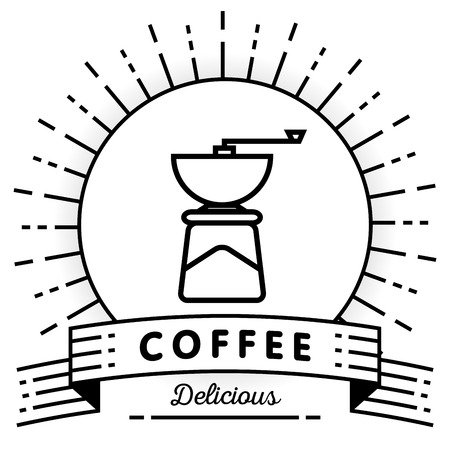 coffee mill: Vector Coffee Mill Icon with Linear Style