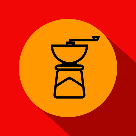 Vector Coffee Mill Icon with Linear Style