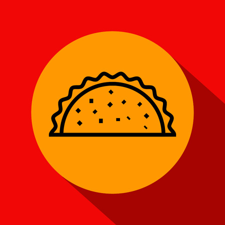 Vector Taco Icon with Linear Style