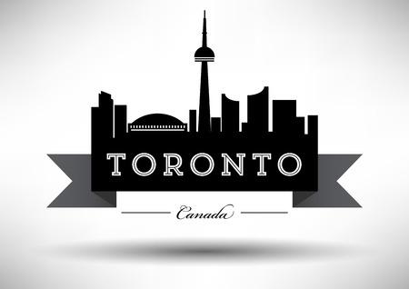 tv tower: Vector Toronto City Skyline Design Illustration