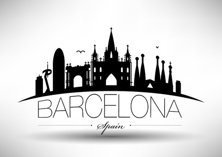 Vector Barcelona City Skyline Design Illustration