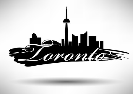 tv tower: Vector Toronto City Skyline Design Illustration