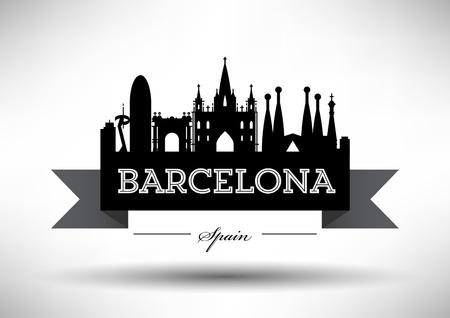 Vector Barcelona City Skyline Design Illusztráció