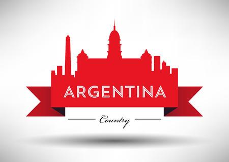 Vector Argentina Skyline Design Illustration