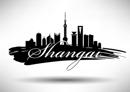 tv tower: Vector Shangai City Skyline Design