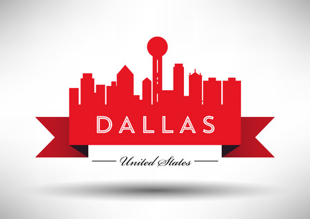 tv tower: Vector Dallas City Skyline Design Illustration