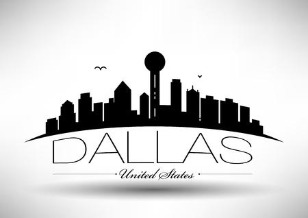 Vector Dallas City Skyline Design Illustration