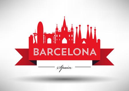 Vector Barcelona City Skyline Design Stock fotó - 60774036