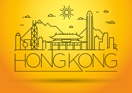 chinesse: Minimal Vector Hong Kong City Linear Skyline with Typographic Design