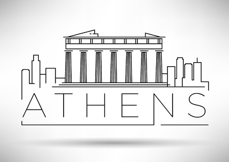 Minimal Vector Athens City Linear Skyline with Typographic Design