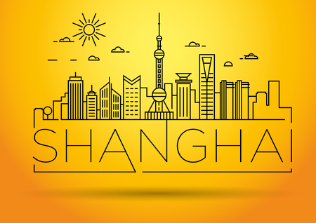 shanghai skyline: Minimal Vector Shanghai City Linear Skyline with Typographic Design Illustration