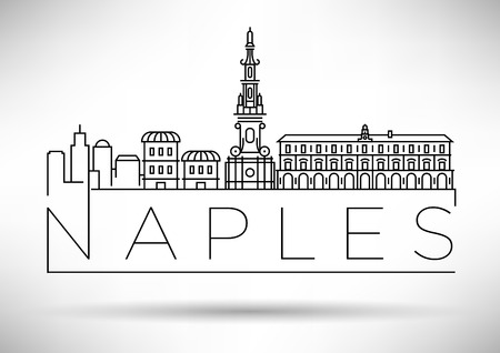 Minimal Vector Naples City Linear Skyline with Typographic Design