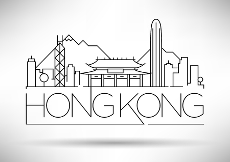 hong kong city: Minimal Vector Hong Kong City Linear Skyline with Typographic Design