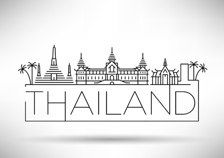 Minimal Vector Thailand City Linear Skyline with Typographic Design