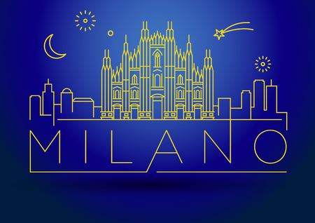 Minimal Vector Milano City Linear Skyline with Typographic Design Illustration