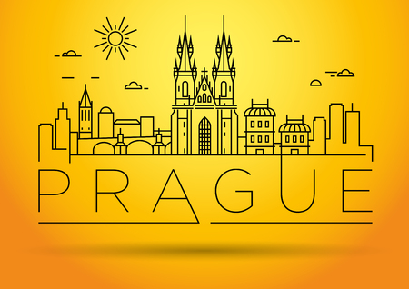 Minimal Vector Prague City Linear Skyline with Typographic Design