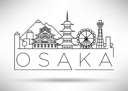 Minimal Vector Osaka City Linear Skyline with Typographic Design