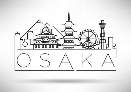 Minimal Vector Osaka City Linear Skyline with Typographic Design