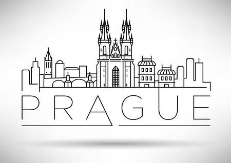 Minimal Vector Prague City Linear Skyline mit typografischen Entwurf Vektorgrafik