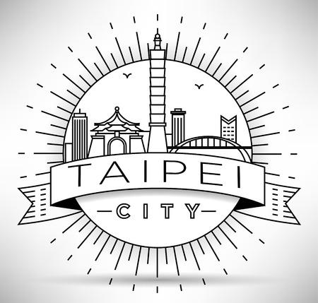 Minimal Vector Taipei City Linear Skyline with Typographic Design Illustration