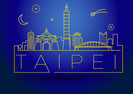 fareast: Minimal Vector Taipei City Linear Skyline with Typographic Design Illustration