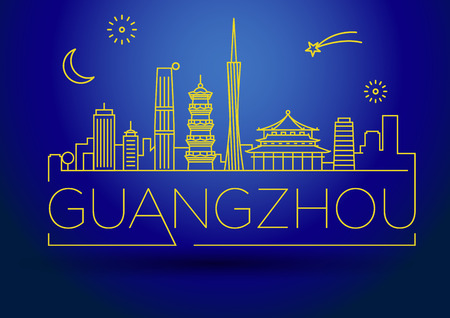fareast: Minimal Vector Guangzhou City Linear Skyline with Typographic Design Illustration