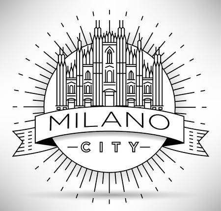 Minimal Vector Milano City Linear Skyline with Typographic Design Illustration