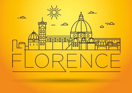 Horizonte de la ciudad lineal mínima vector Florencia con diseño tipográfico